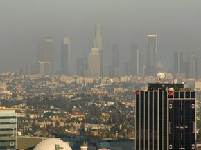 Pollution and smog cloud the view of Hollywood, Calif. with downtown Los Angeles in the background. Is the air quality better now than it was several decades ago? See pictures of global warming.