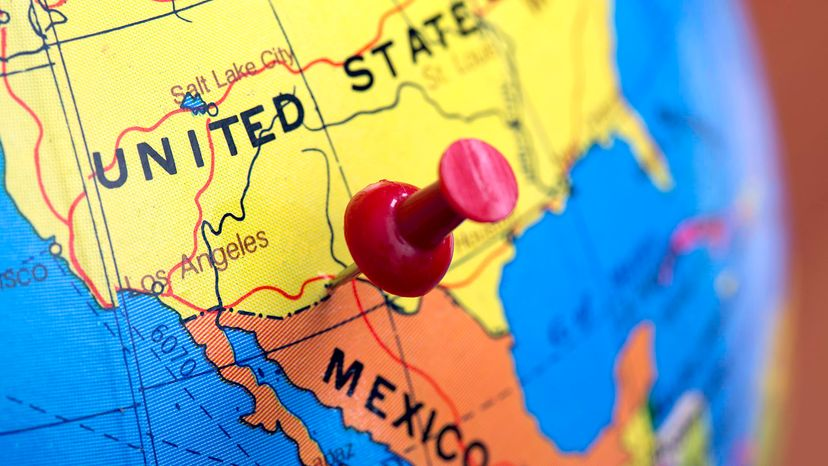 Map showing U.S. and Mexico