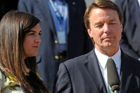 John Edwards and his daughter Cate spoke with media outside a federal court May 31, 2012, after he was acquitted on one count of campaign finance fraud, and a mistrial was declared on the other five counts.