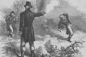 An engraving of Alexander Hamilton's duel with Aaron Burr on July 11, 1804. Hamilton died from his wounds the following day.