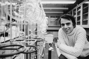 The famous scientist and popularizer of science poses in his Cornell lab circa 1974, turtleneck sweater and all.