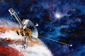 An artist's rendering of Pioneer 10, an American Spaceprobe launched in 1973. Should it reach another galaxy and be found by other intelligent beings, it carries a plaque designed by Carl Sagan to identify us humans on Earth as its source.