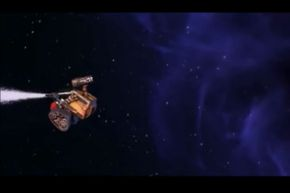 Wall-E uses the thrust of the extinguisher to propel himself in the opposite direction of the nozzle spray.