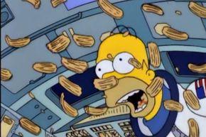 Homer Simpson: free falling and noshing like a boss.