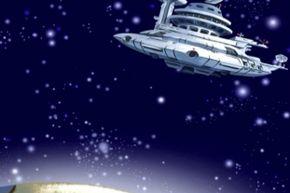 Gargantua-1 in its geosynchronous orbit over Earth