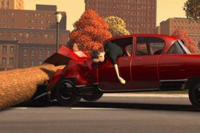The car stops, the bad guys keep flying forward.