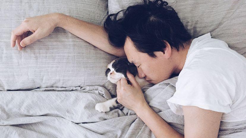 man sleeping with cat