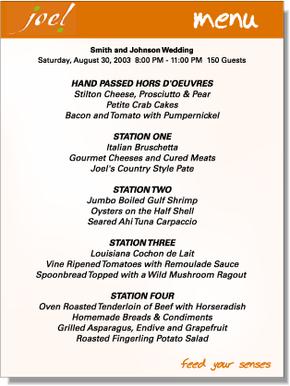 Sample: Catering menu