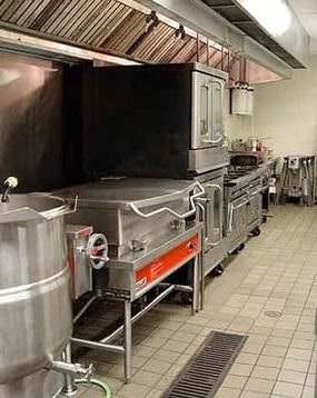This catering firm's kitchen is very much like a restaurant kitchen.