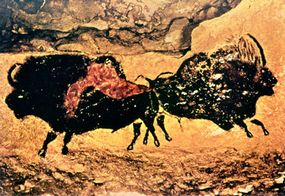 Painting of bison at Lascaux