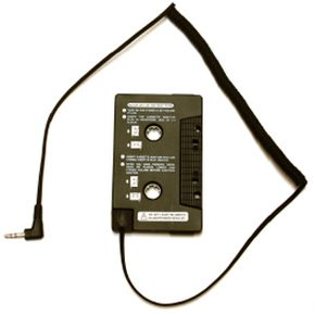 A cassette adapter allows you to listen to a CD through the car's speakers.