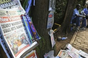 A newspaper chronicles the Marburg virus outbreak in the Ugandan capital Kampala in October 2014.