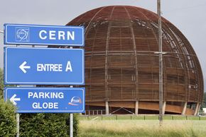 This large wooden structure marks the entrance to CERN's particle accelerator facility.