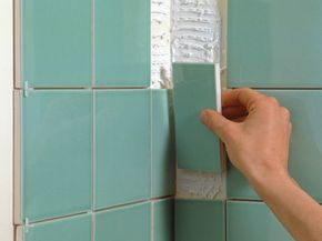 From the side of a tile, you can see where the glaze meets the bisque.