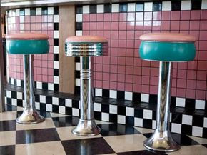 Dazzle your buddies at the soda fountain by explaining how these tiles were installed.
