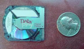 A micro-optical disk is tiny and holds 500 megabytes