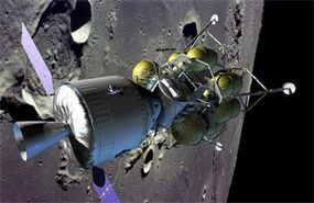 Crew vehicle and lander in lunar orbit