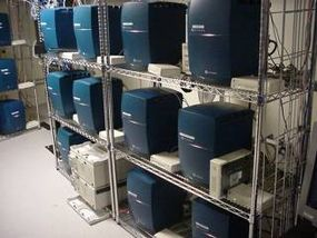 Desktop machines are stored in the machine room to make maintenance and upgrades easier.