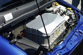 Engineers replaced the engine of the GM HydroGen3 with a microwave-oven-sized fuel-cell stack. See more pictures of alternative fuel vehicles.