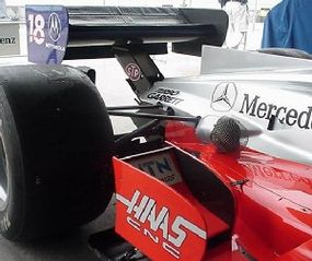 The rear suspension, rear tires and rear wing