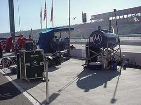The team's side of the pit wall