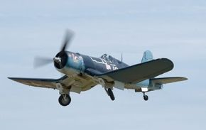 Although designed as a carrier-based fighter, the bent-wing Chance Vought F4U Corsair did not fill that role for the U.S. until after it had successfully done so with Britain's Royal Navy, in 1944. See more flight pictures.