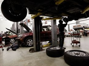 When you're changing the brake pads, it's not enough to just raise the vehicle on a jack. You'll need to use jack stands -- that is, if you can't raise it up the way mechanics do.