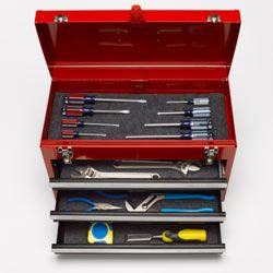 You won't even need a tool box as replete as this one to change your battery. Just a couple of wrenches or pliers and a hammer will do.