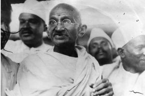 Mahatma Gandhi leading the Great Salt March in protest against the British government monopoly on salt production.
