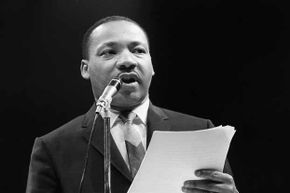Dr. Martin Luther King gives an address in Paris in 1966.