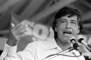 American labor leader and co-founder of the United Farm Workers Cesar Chavez speaks at a rally in Coachella, California in the '70s.