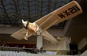 The Spirit of St. Louis hanging in the National Air and Space Museum