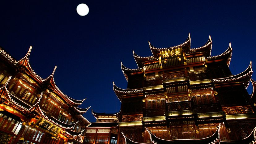 full moon over China