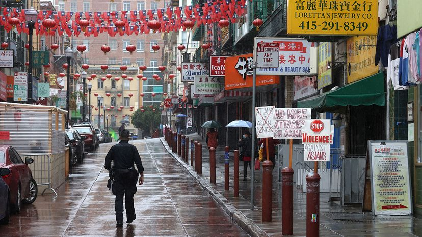 police on patrol in Chinatown, San Francisco