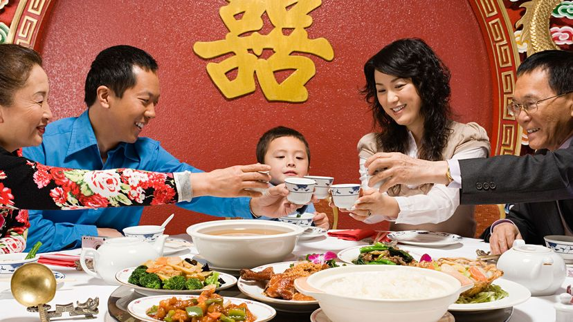 Chinese family eating