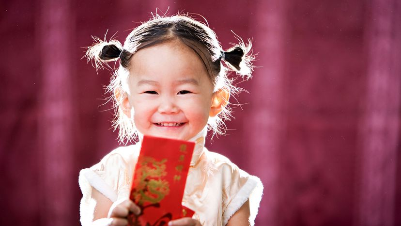 Chinese girl with red envelope