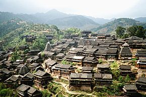 A view of a village in the Guangxi province in China.