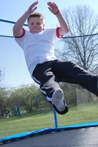 If your kid says P.E. is boring, invest in a trampoline (and then teach him or her to use it safely).