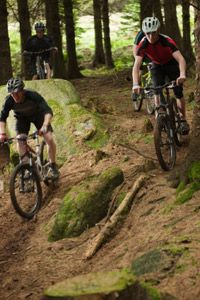 The bike's suspension helps keep the tires in contact with the trail, which lets the rider stay in control over obstacles like roots and rocks.