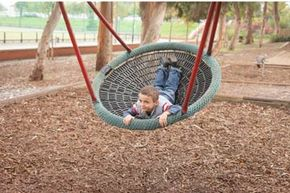 The rungs on a rope net should be either be smaller than 3.5 inches (8.9 centimeters) or larger than 9 inches (22.8 centimeters) to prevent a child getting his or her head trapped.