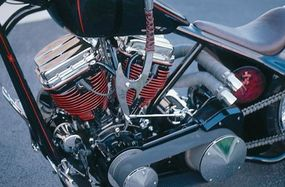 Adding to Chopper, Baby's distinctive look is the red edging on its cooling fans, which contrast with the black-painted cylinders.