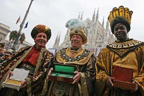 The Three Kings traveled to Bethlehem to offer gifts to baby Jesus. Men in Milan, Italy reenact the presentation during an Epiphany day parade.