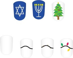 It takes a very steady hand to paint these 'lighten up' nail decorations!