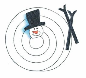 After the snowman's hat is glued on, glue on the arms to each side of the spiral below the head.