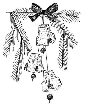 Homemade silver bell ornaments make a beautiful tree decoration.