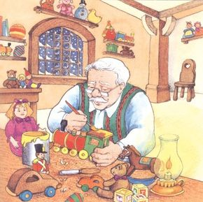 The old toymaker Cornelius worked really hard to make enough toys for all the boys and girls in town.