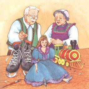 Cornelius the toymaker was on the right track. He had already finished a shiny pair of ice skates and a beautiful doll!