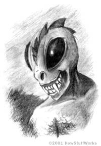 Black and White Sketch of a Chupacabra Face with Fangs