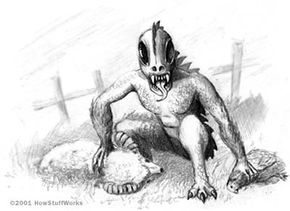 Black and White Sketch of a Chupacabra Eating Livestock