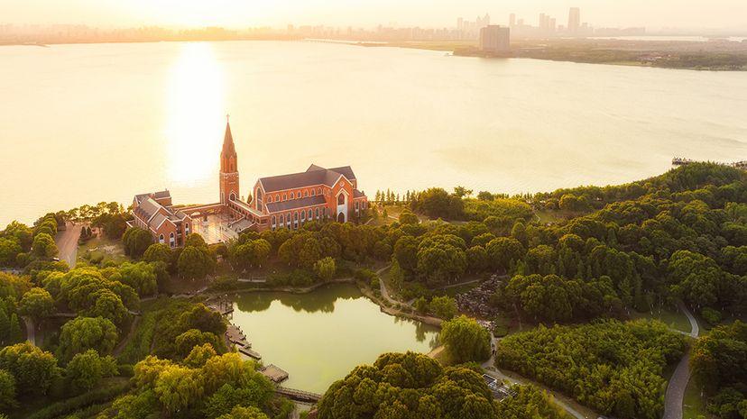 A Christian church located on the shore of Dushu Lake, near Suzhou, China. Kaicheng Xu/Getty Images